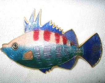 Vintage Colorful Enamel Fish Brooch