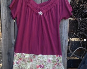 cranberry burgundy autumn lovely shabby boho fairy eco anthropologie like cotton lace boho girl gypsy ooak tee dress tunic