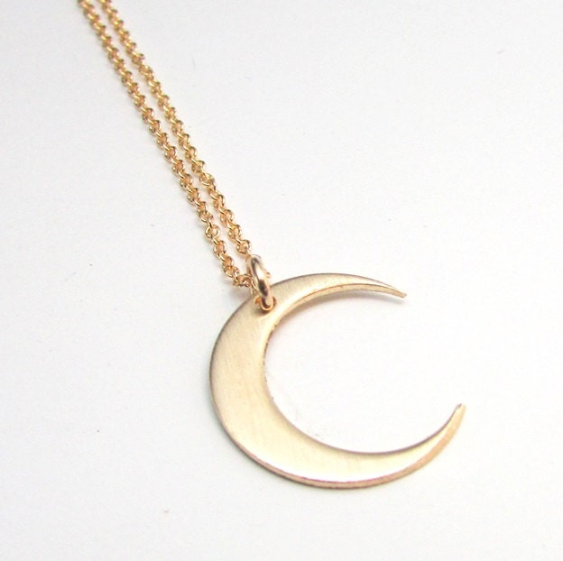 Moon Necklace Gold Crescent Moon Charm 14K Gold Filled