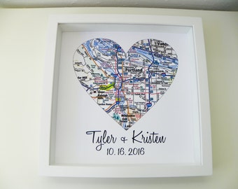 Engagement Gift Heart Map Framed Print Personalized Wedding Gift Any Location Available Unique Engagement Gift  Custom Wedding Map