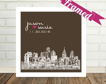 Wedding Gifts Personalized FRAMED ART City Skyline Print Any City  Available Unique Wedding Gift Engagement Gift Personalized Valentine Gift