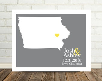 IOWA State Map Print Wedding Gift Iowa Map Personalized Wedding Gift Map Art Print Iowa Poster Valentines Day Gift Holiday Gift for Him