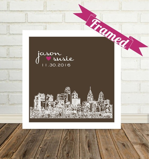 Wedding Gift Framed Art : Wedding Gifts Personalized FRAMED ART City Skyline Print Any City ...