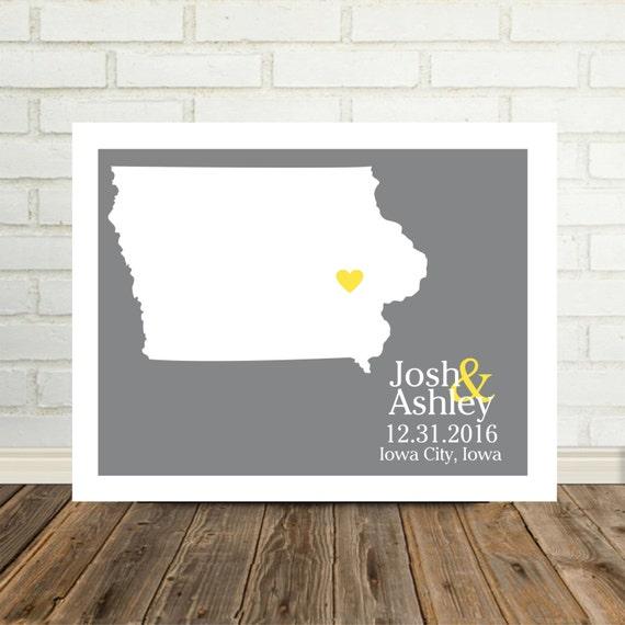 IOWA Wedding Gift Iowa Map Iowa Print Personalized Wedding Gift State Map Art Print Iowa Poster Valentines Day Gift Holiday Gift for Him