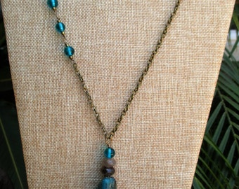 Dark Teal Sediment Jasper Beaded Boho Necklace