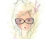 Glasses girl print, cute cool girl art, girl illustration