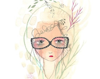 Glasses girl print, cute cool girl art, girl illustration