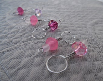 "Stitchmarkers for knitting, set of 6, ""Rose"", up to 8 mm needles"