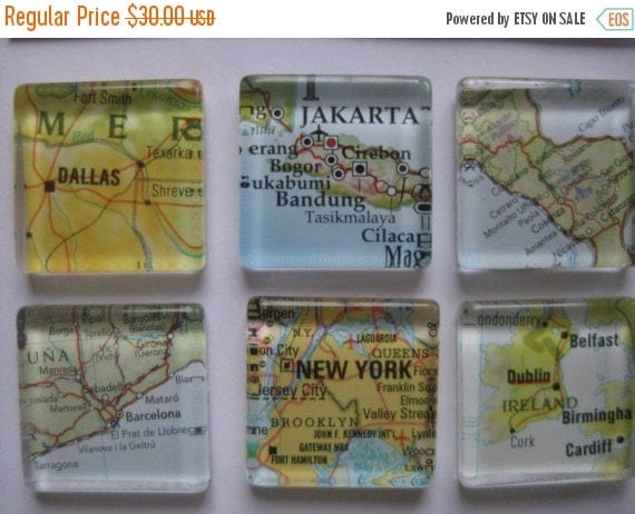 "ON SALE Glass Fridge Magnets World Maps (6 tiles) 1""x1"" Destination Wedding, Corporate gifts, Bridal Shower favors"