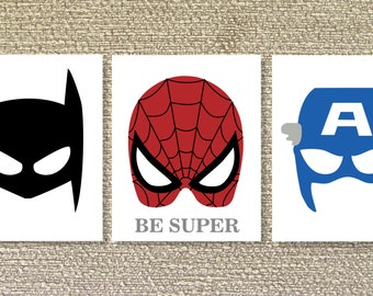 Superhero, Printable Wall Art, Batman, Spiderman, Superhero decor- File Download