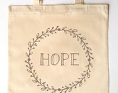 Simple Wreath Tote for Bridesmaid Flower Girl Maid of Honor - Monogram Tote Bag for Weddings