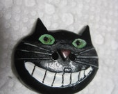 VINTAGE Fabulous Black Plastic Figural Button- Cat w/ Big Green Eyes & Huge Grin....