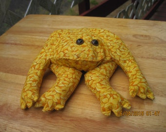 Theraputic (hot or cold) All RICE Filled Yellow & Mustard Leafy Frog,Home Decor,Table Top,Mantle.HAND MADE..ooak...Orginial Design