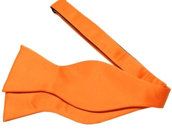 Men's Solid Orange Self-Tie Bowtie, for Formal Occasions
