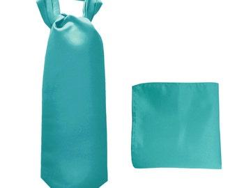 Men's Solid Aqua Blue Ascot Cravat Tie and Handkerchief, for Formal Occasions