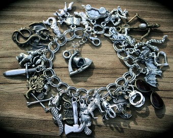 Grimm Reaper - Horror - Fantasy - Fairy Tales Theme Charm Bracelet - Monster - Witch - Dragon - Wolf - Myth - Magic - Story Book - Fandom
