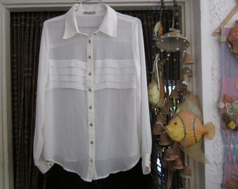 Designer's Delicate White Buttoned-Down Viscose Blouse - Front Appliquéd with 4 Tiers /Layers, Vintage, Medium