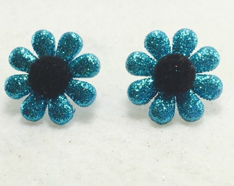 Aqua Blue Glitter Earrings, Glitter Flower Earrings, Spring Earrings, Summer Earrings, Girls Earring, Button Earrings