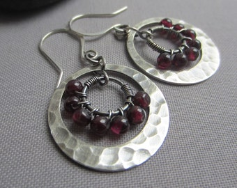 Silver Hammered Earrings/ Garnet Earrings/ Silver Wire Earrings w/ Garnet/ Artisan Earrings/ texturized earrings/ Tarnished Silver Earrings