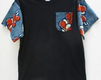 Ankara Pocket T- Shirt, Wax Print Shirt, African Print shirt