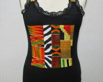African Print Lace Camisole/Vest, Camisole, Tank top, Sleeveless shirt, African print Top, Women's Tank Top, African Print
