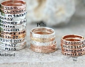 Hand Stamped Stacking Rings - Personalized Gold, silver, pink gold hammered rings - kids name rings - organic rings - hand stamped rings