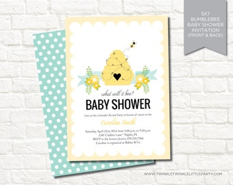 Bumble bee Gender Reveal Baby Shower Digital Printable Invitation