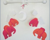 Baby Crib Mobile- Elephants Mobile-hot pink and orange elephants Mobile-custom Made Mobile