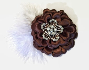 Brown Satin Flower Embellishment, Supply, Embellishments, Brown Stain Flower, White Feathers