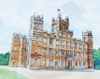 Downton Abbey, Highclere House UK Print From Original Watercolour