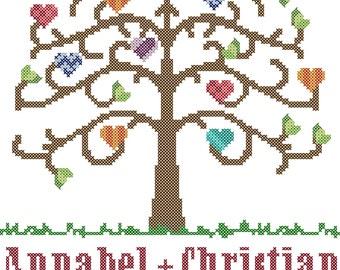 Love Tree with Hearts Cross Stitch Pattern/Wedding Tree Cross Stitch Pattern/Tree Cross Stitch Pattern/Wedding Cross Stitch Pattern/PDF File