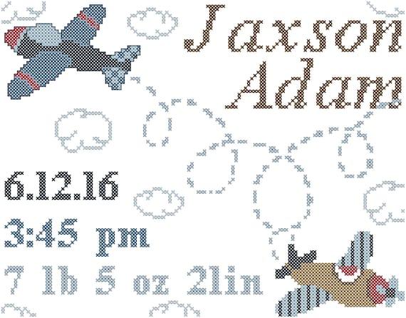 Airplane Baby Birth Record Cross Stitch Pattern Airplane Baby