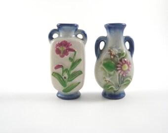 Mini Bud Vases Floral Pattern Made in Japan Blue and White Tiny Flower Jar Vase