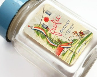 Frolic Sachet Powder By Cheramy Vintage Square Glass Bottle Vanity Bathroom Perfume Decor