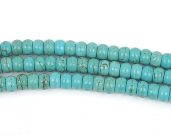 6mm HEISHI Beads, Howlite Turquoise Rondelle Rondelle Beads, trade beads, full strand, about 98 beads, how0472