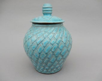 Lidded Turquoise Jar - Handmade Earthenware Pottery