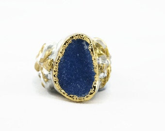 Stunningly lux gold dipped ocean blue druzy hand carved ring size 9 one of a kind princess fairytale statement ring