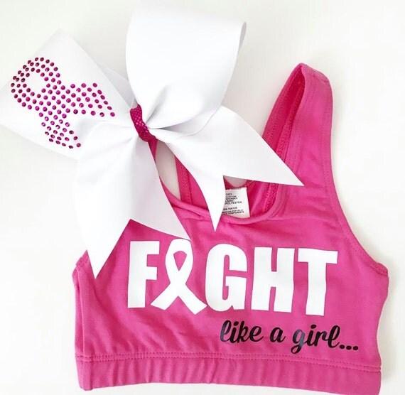 NEW FIGHT like a GIRL- Breast Cancer Awareness Sports Bra & Bow - cheer dance gymnast dancewear october girls child woman adult teen