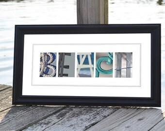 "Alphabet Photography Decoration BEACH Print: Unframed 10""x20"""