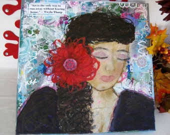 "Run Away at Home Art, Original Painting, Mixed Media Canvas, Woman Art, Mixed Media Girl, Woman with Flower, Colorful Canvas, 12x12"" Square"