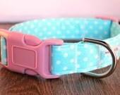 Aqua Polka Dot Dog Collar, Girly Dog Collar, Boy Dog Collar