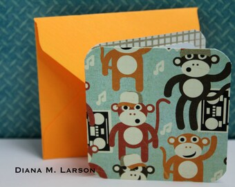 "Set of 8 monkey  cards 2.5"" x 2.5"" Monkey cards with Handmade  envelopes"