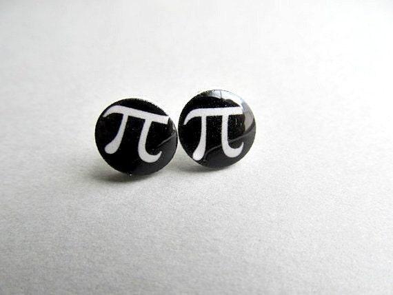 Mathmatic Sign PI π Stud Earrings, Science stud earrings, Math stud earrings, Nerdy cute earrings