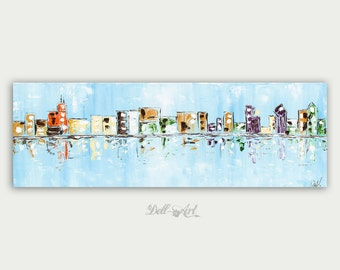 Colorful Chicago Skyline Painting Original Modern Abstract Art Home Decor