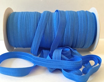 "Blue FOE #337 Capri Blue Fold Over Elastic Shiny Solid FOE- 5 or 10 yards 5/8"" inch Headbands Hair Ties Satin Elastic Soft Elastic"