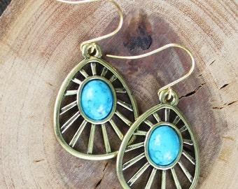 Boho Faux Turquoise Earrings - Brass Earrings, turquoise earrings, boho earrings, sun earrings, boho jewelry, turquoise jewelry, sun jewelry