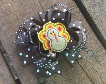 Turkey Hair bow , Thanksgiving Hair Bow , Turkey Day Hair Bow , Fall Hair Bow , Holiday Hair Bow