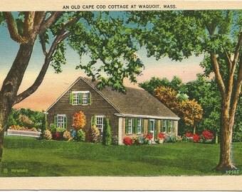 Old Cape Cod Cottage at Waquoit Massachusetts  Vintage Linen Postcard