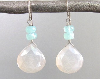 Moonstone & Aquamarine Briolette Earrings