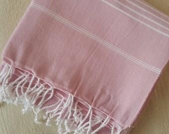 Turkish BATH and Head Towel Set: Handmade Peshtemal and Peshkir, Home Decor, Fouta, beach, spa, ecofriendly, gift, christmas, light Pink